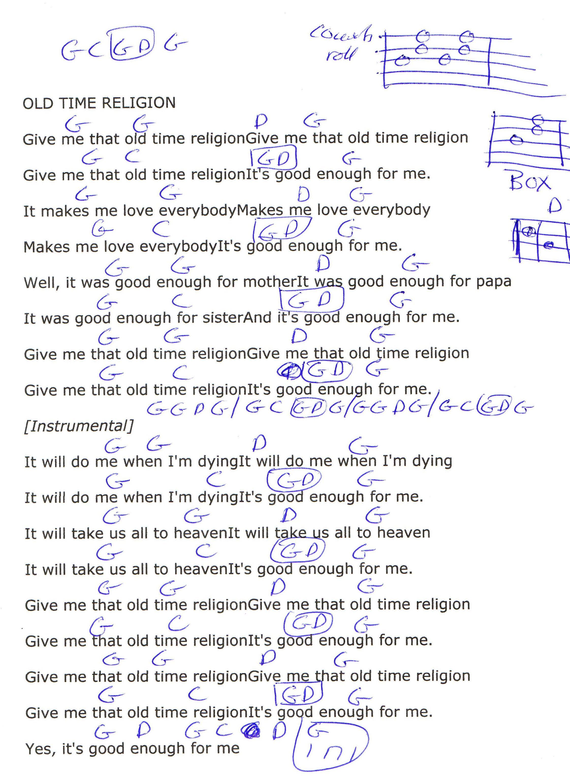 Old Time Religion Gospel Guitar Chord Chart In G Major Guitar