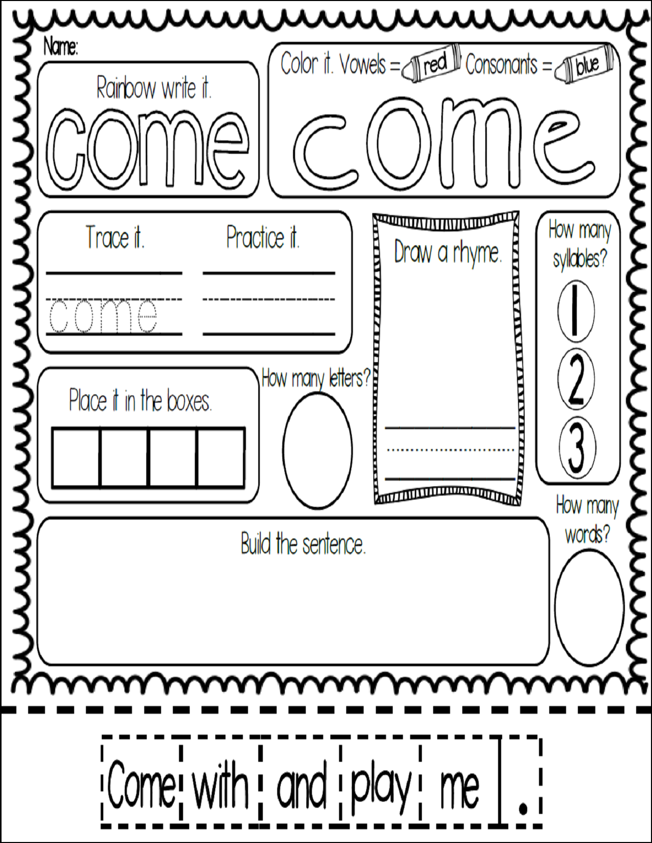 Freebie Meaningful And Fun Sight Word Work With The Word