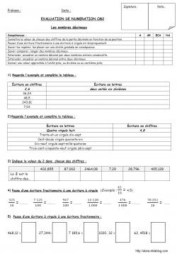 Evaluation les nombres d cimaux math mathiques - Evaluation tables de multiplication cm2 ...