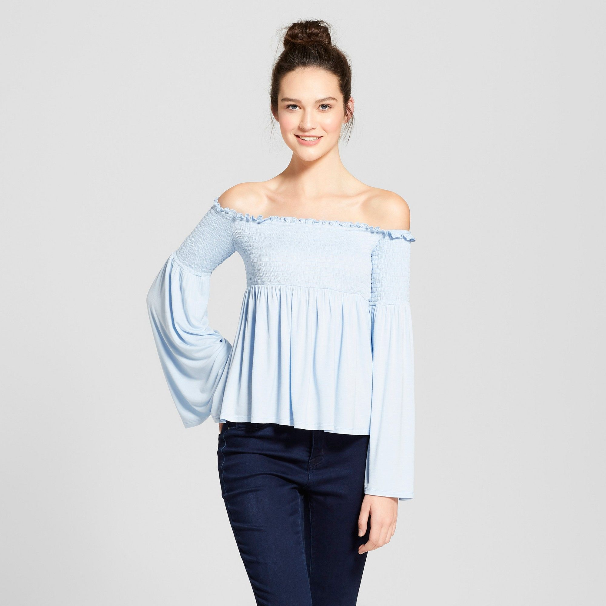 2f20dc34d10e34 Women's Smocked Off the Shoulder Top - Mossimo Supply Co. Blue S ...