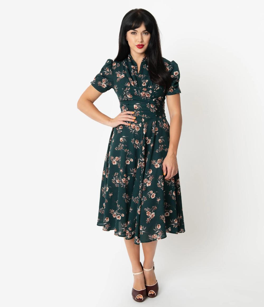 Unique Vintage 1940s Green Floral Print Camilla Midi Dress Dresses Vintage Dresses Online Unique Dresses [ 1164 x 1000 Pixel ]