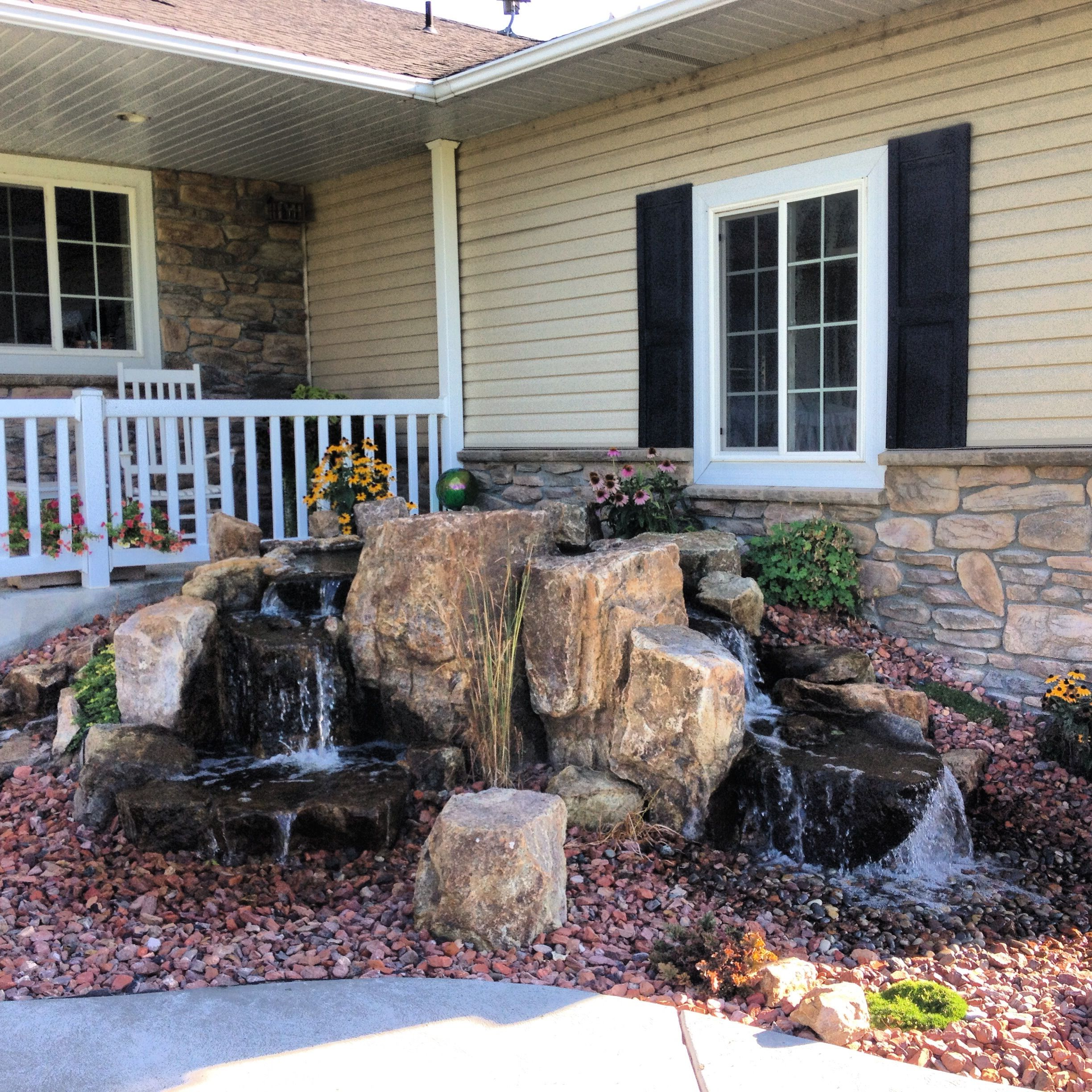 Nice pondless waterfall for the front entry | Backyard ... on Front Yard Waterfall Ideas id=92874