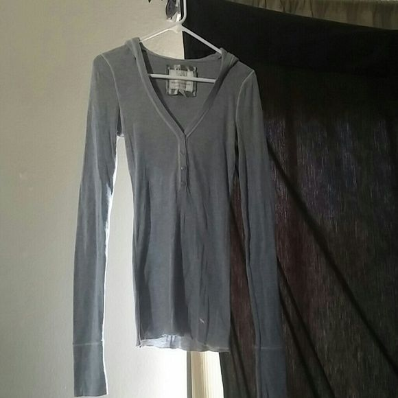Abercrombie Hooded Shirt Grey Abercrombie hooded henley shirt with buttons. The tag says XL but it fits more like a small or medium Abercrombie & Fitch Tops