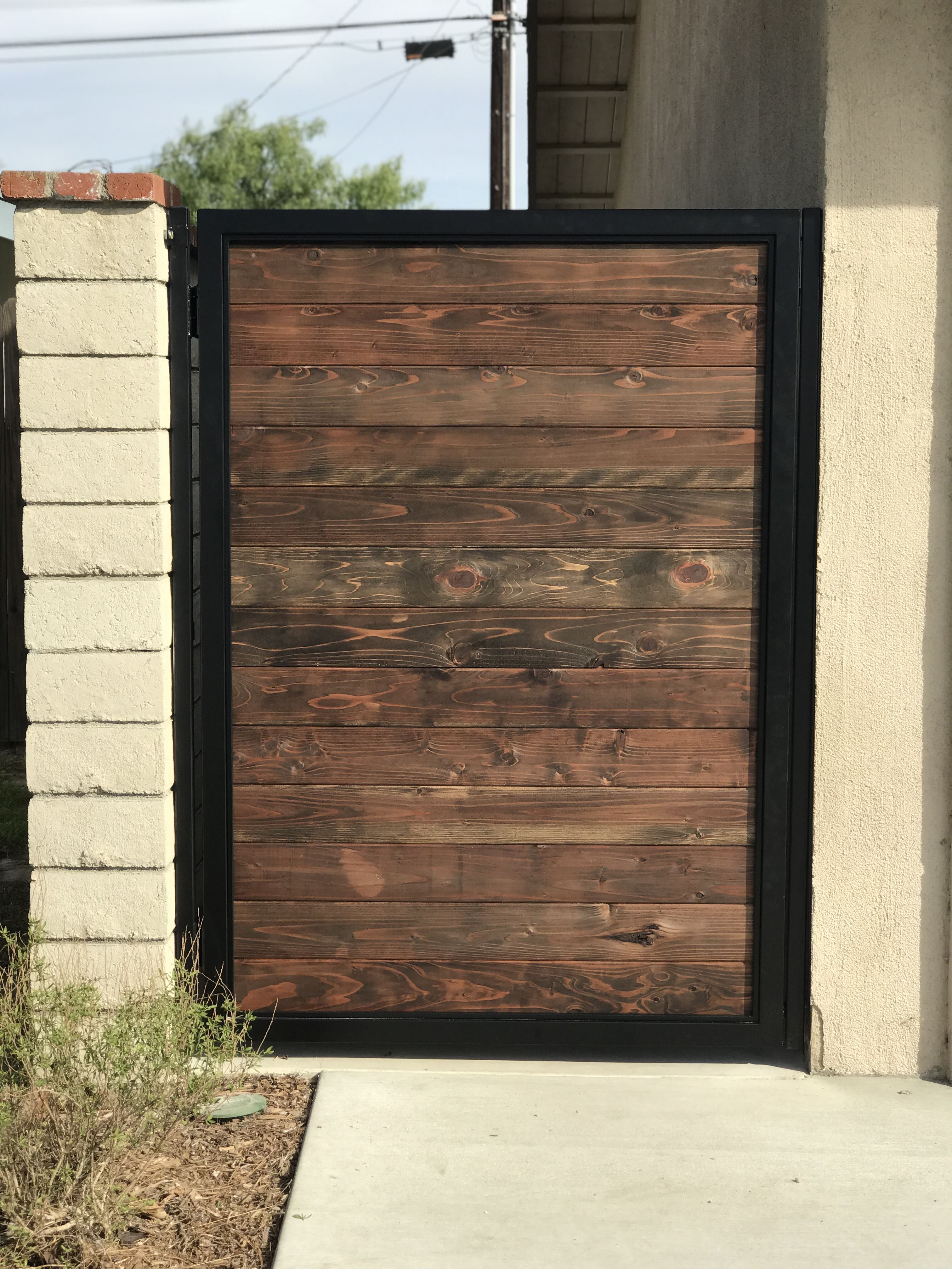 Steel Frame Gate With Stained Redwood Inserts Fence Gate Design Wood Gate Gate Wall Design