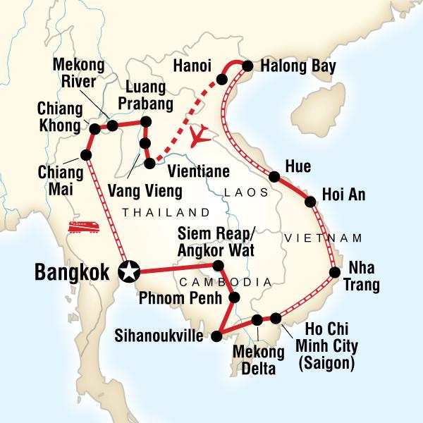 Karte der Route für Entdecke Indochina | travel | Pinterest | Asien ...