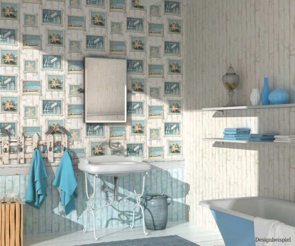 Tapete creme blau Holz Aqua Relief Rasch 854107