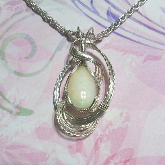 Natural Opal Womans Pendant Necklace Wire Wrapped Jewelry | Jewelry ...