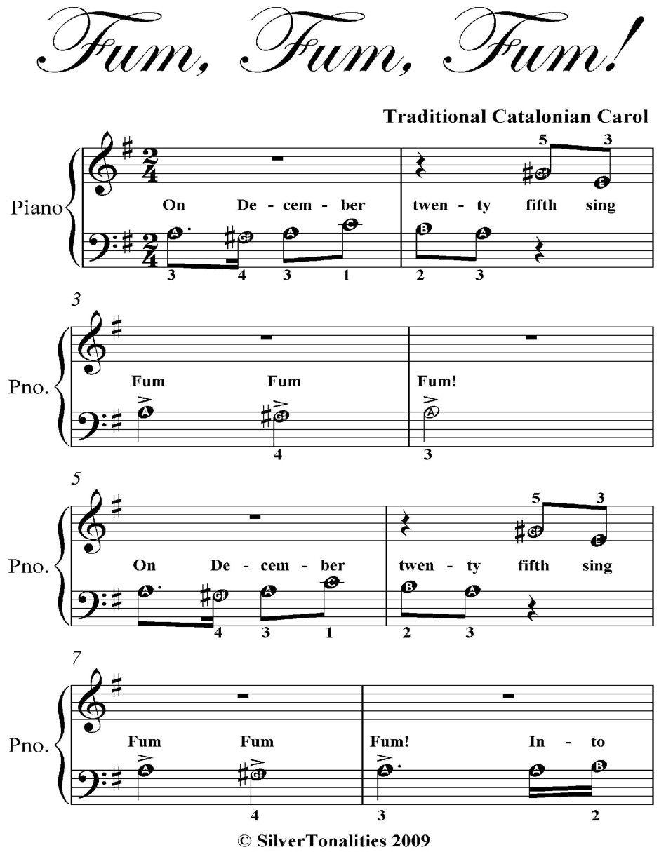 Fum Fum Fum Beginner Piano Sheet Music , ad, Piano