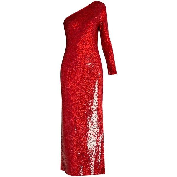 Ashish Sequin-embellished silk maxi dress ($2,101) ❤ liked on Polyvore featuring dresses, red sequin dress, silk dress, one shoulder cocktail dress, one shoulder dress and one shoulder maxi dress