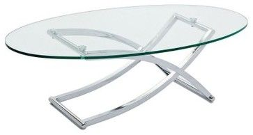 East End Imports Criss Cross Oval Glass Top Coffee Table Modern