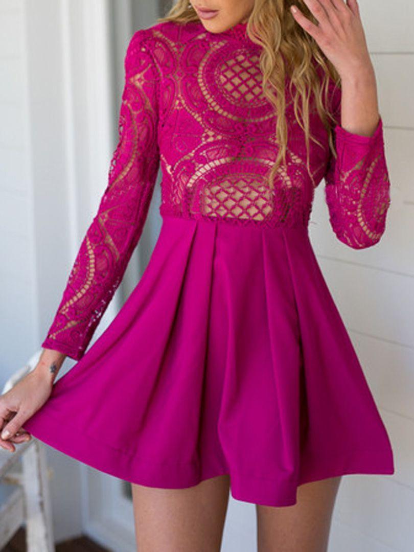 Crochet lace neck dress