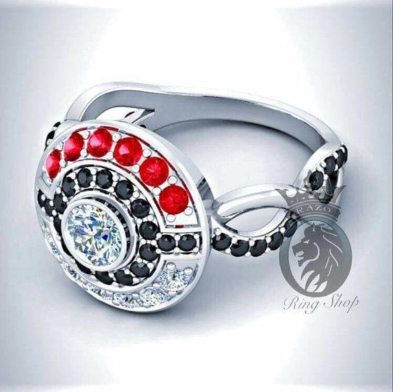 Pokemon Pokeball Red Ruby Black and White Diamonds Infinity Band Engagement