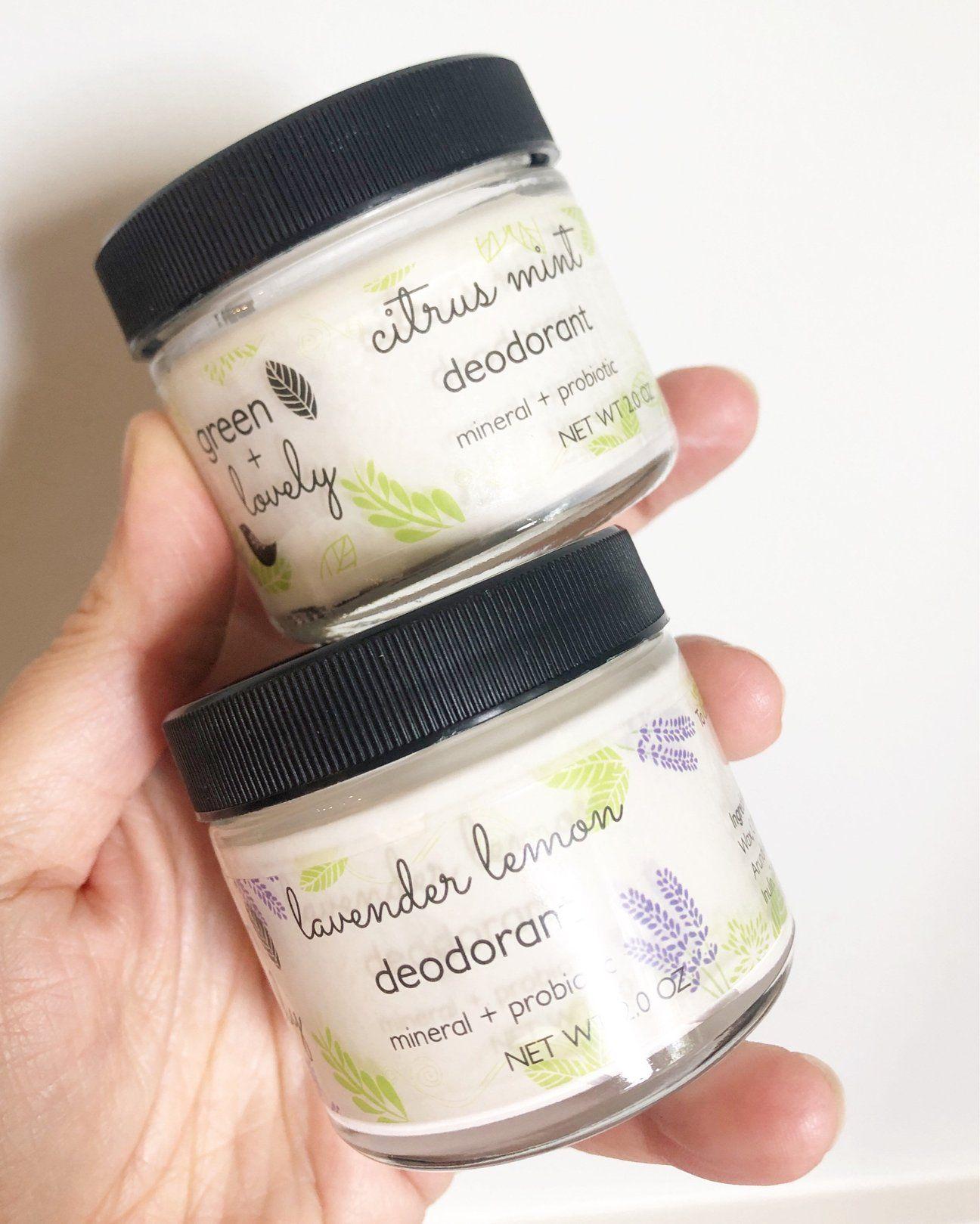 Deodorant lavender lemon mineral probiotic vegan in