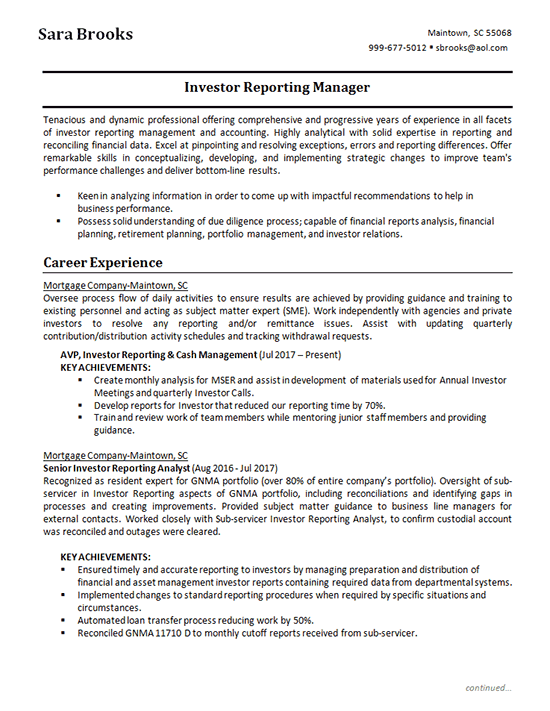Investment Analyst Investing Analyst Resume Examples