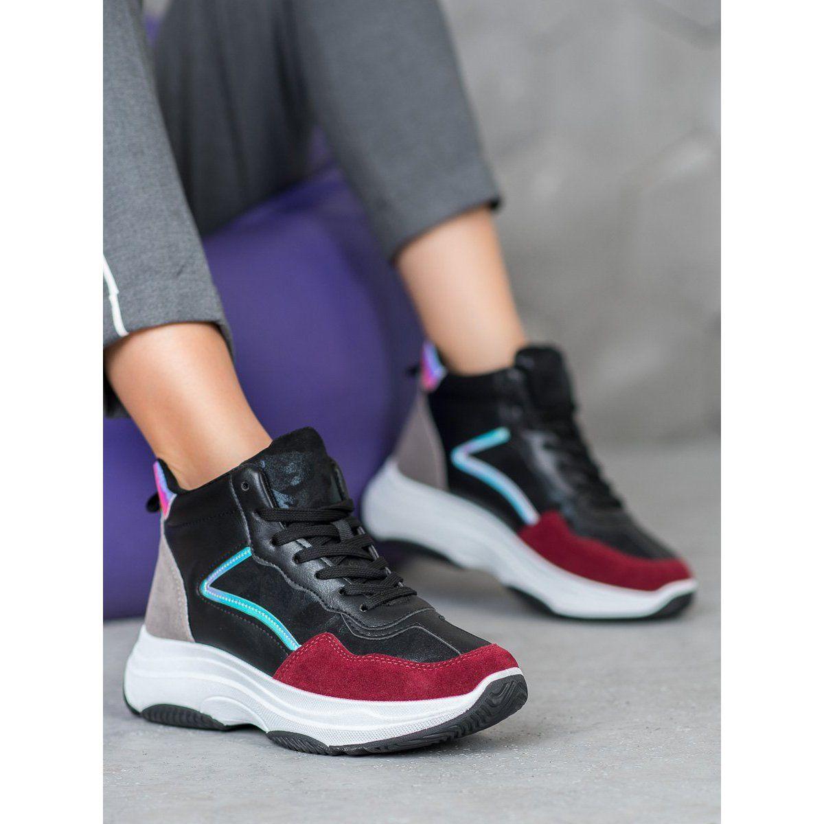 Ideal Shoes Wysokie Buty Na Platformie Czarne Wielokolorowe Air Jordan Sneaker Top Sneakers High Top Sneakers