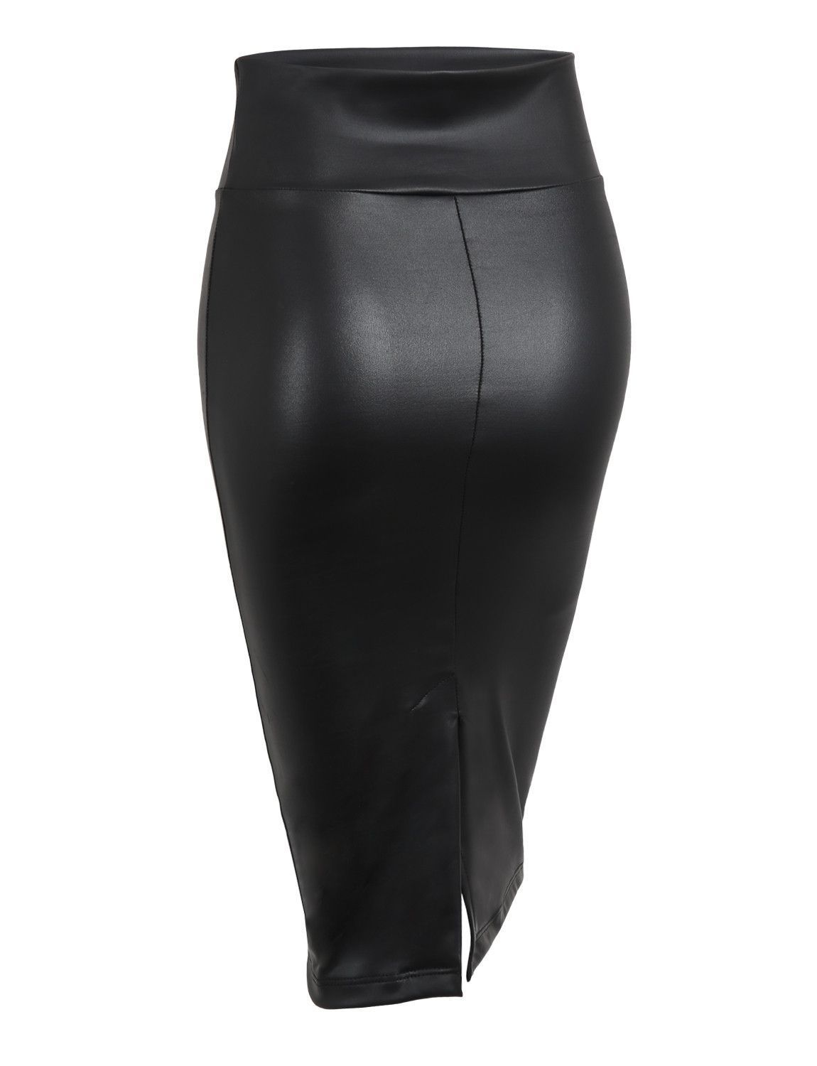 Size 14 New Shop Clearance Ladies Black Knee Length Faux Leather Pencil Skirt