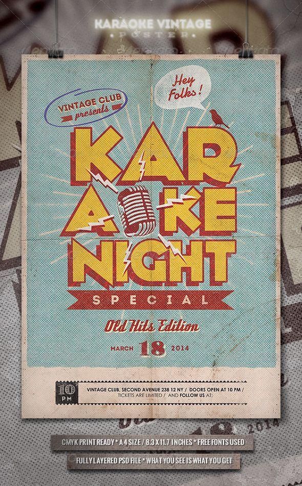 Karaoke Vintage Poster  Flyer  Karaoke Vintage Posters And Psd