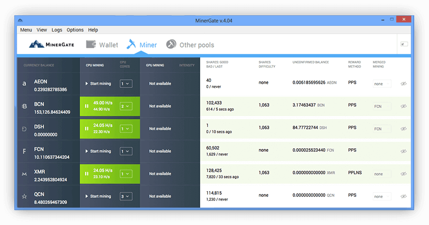 Cryptocurrency gui miner and mining pool