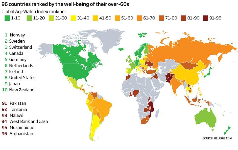Global index ranks 96 countries on the quality of life for over 60s - best of world map with japan