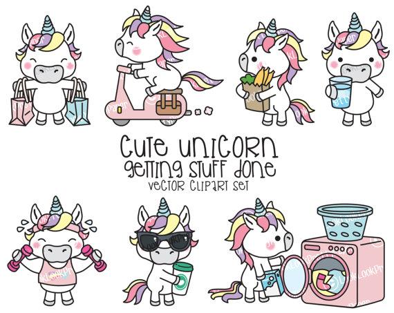 premium vector clipart kawaii unicorn cute unicorn planning clipart instant download. Black Bedroom Furniture Sets. Home Design Ideas