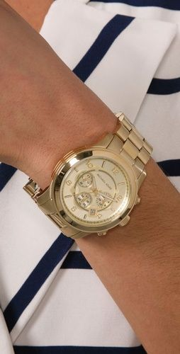 a9c92faa5e49 Michael Kors Golden Oversized Runway Watch. Hopefully getting it for my  birthday!!