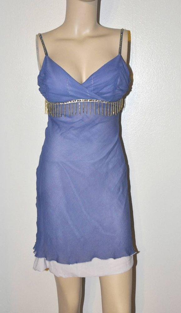 Sexy Indigo dye sequin Beaded trim Sheer low cut dress S/M Prom ...