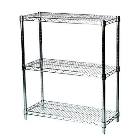 Industrial Wire Shelving Unit With 3 Shelves 14 D X 24 W 67 94