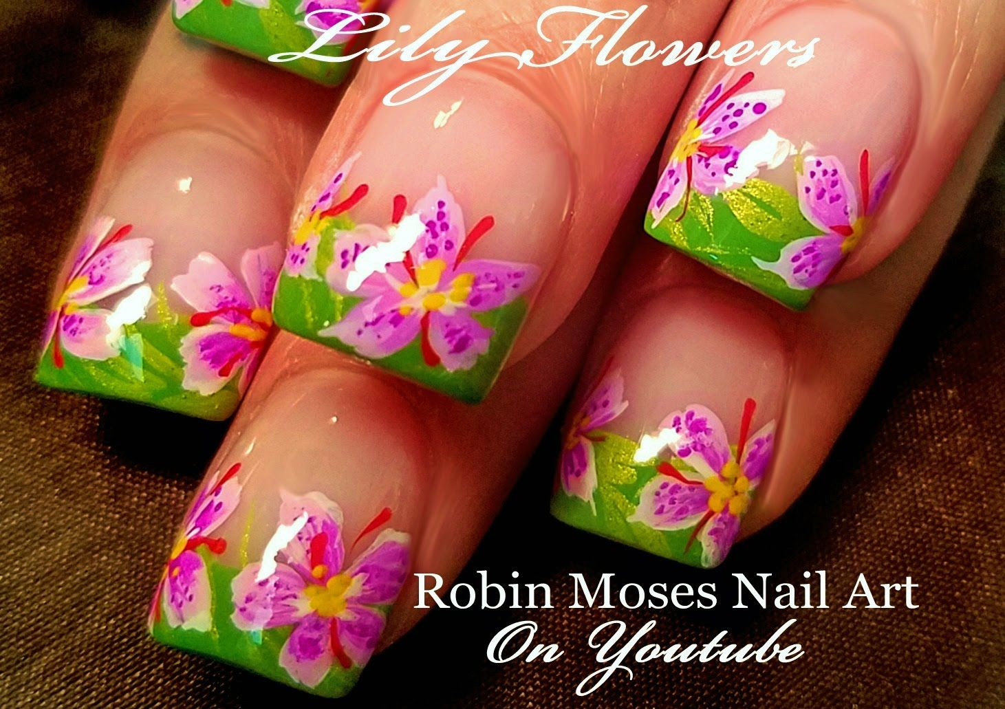 Diy Lily Flower Nail Art Fun Floral Nails Design Tutorial Nail