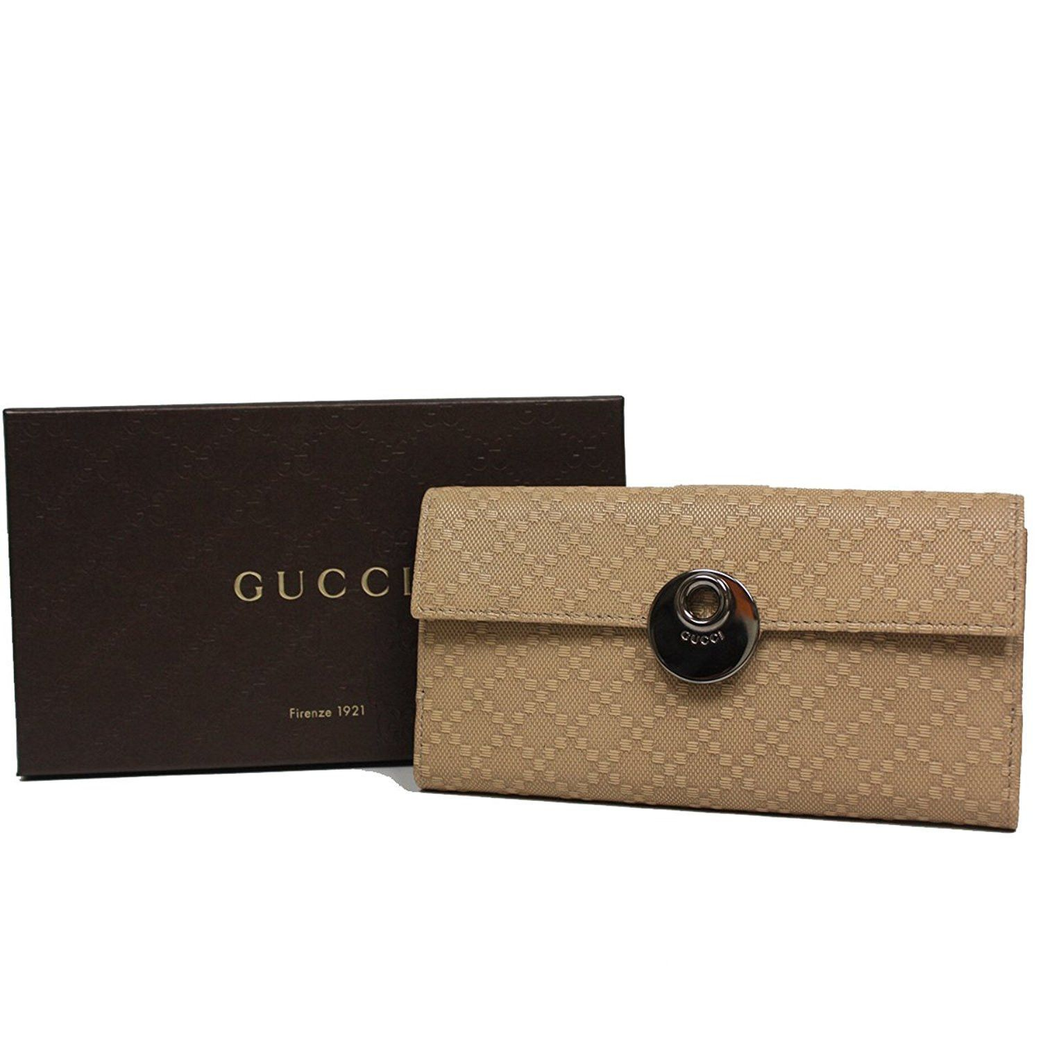 410468cbc93e1b Gucci Diamante Leather Continental Flap Wallet 231835, Beige Cream ...