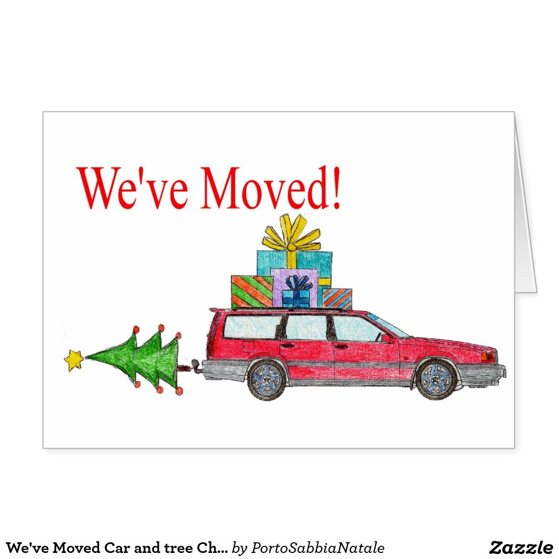 We\'ve Moved Car and tree Christmas Card | New Address Announcements ...