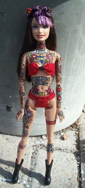 Tattoo Barbies by Susie Humphrey - If this was actually produced by Mattel, I would add her to my collection!