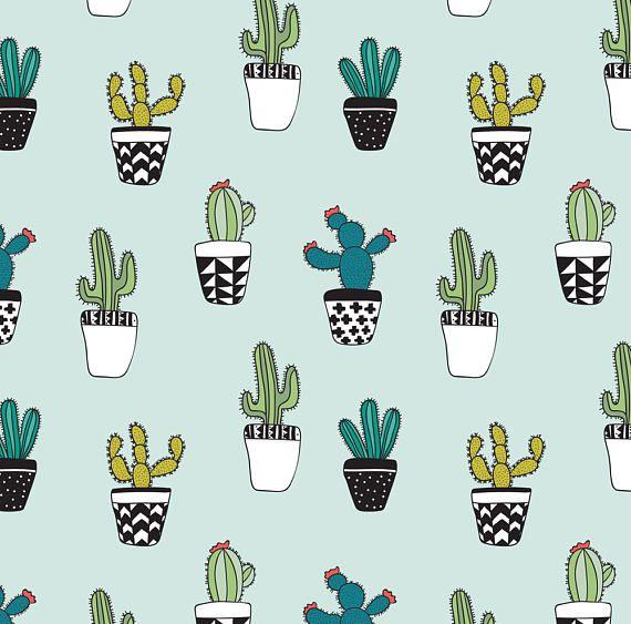 Cute Cactus Fabric Cacti By Kellytucker Mod Cartoon Cactus Etsy Cactus Fabric Cactus Cartoon Cactus