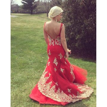 15999 long floral red mermaid sleeveless backless