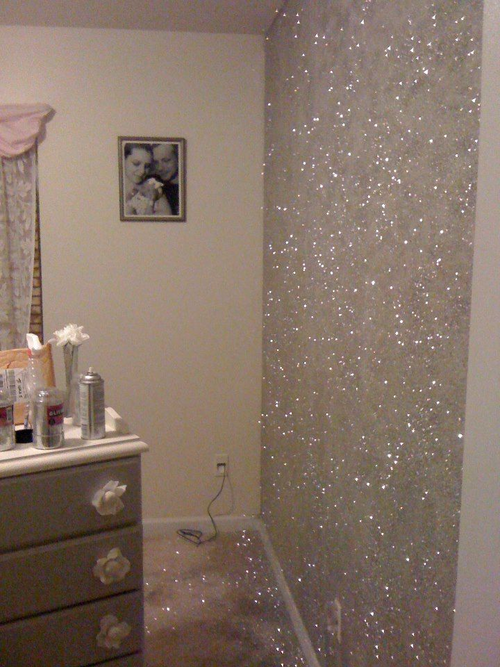 Glitter accent wall pounds of loose cans adhesive spray paint paper plate straw pour some on also glorious sparkle ideas no such thing as too much bling