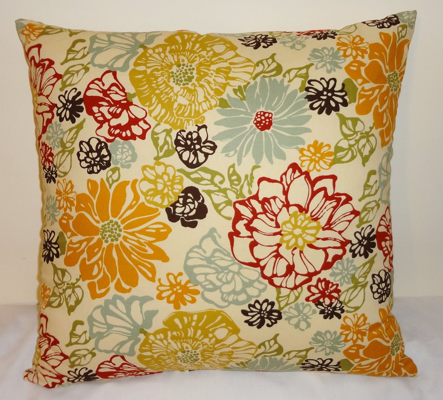 Decorative pillows with blue brown and yellow - Decorative Pillow Accent Pillow Richloom Invigorate Large Floral Red Blue Yellow Brown 20x20 22 00