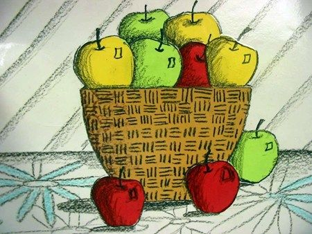Apple And Basket Still Life With Images Elementary Art