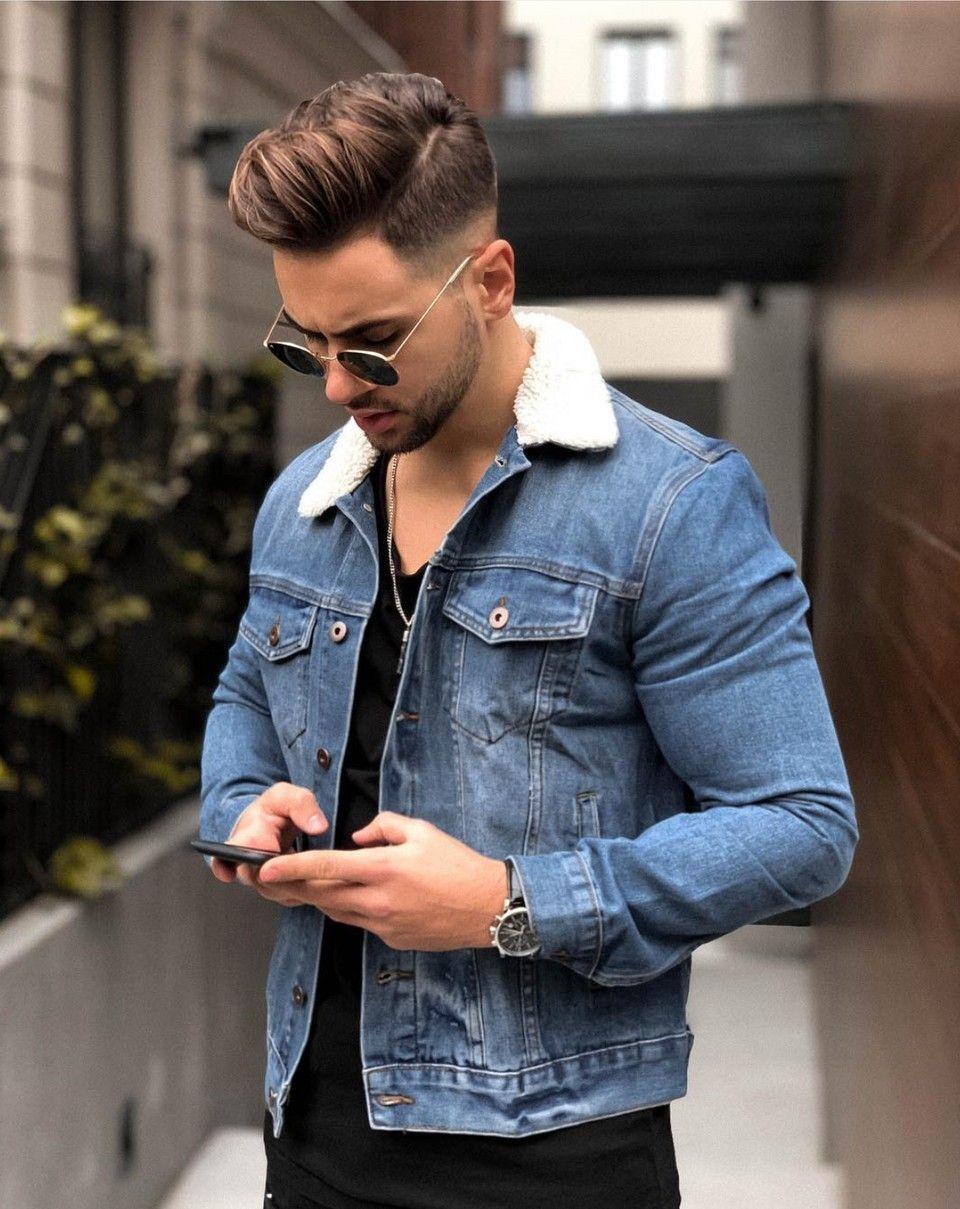 Jonathan Sherpa Denim Jacket Medium Wash Mens Fashion Casual Mens Clothing Styles Mens Outfits [ 1209 x 960 Pixel ]