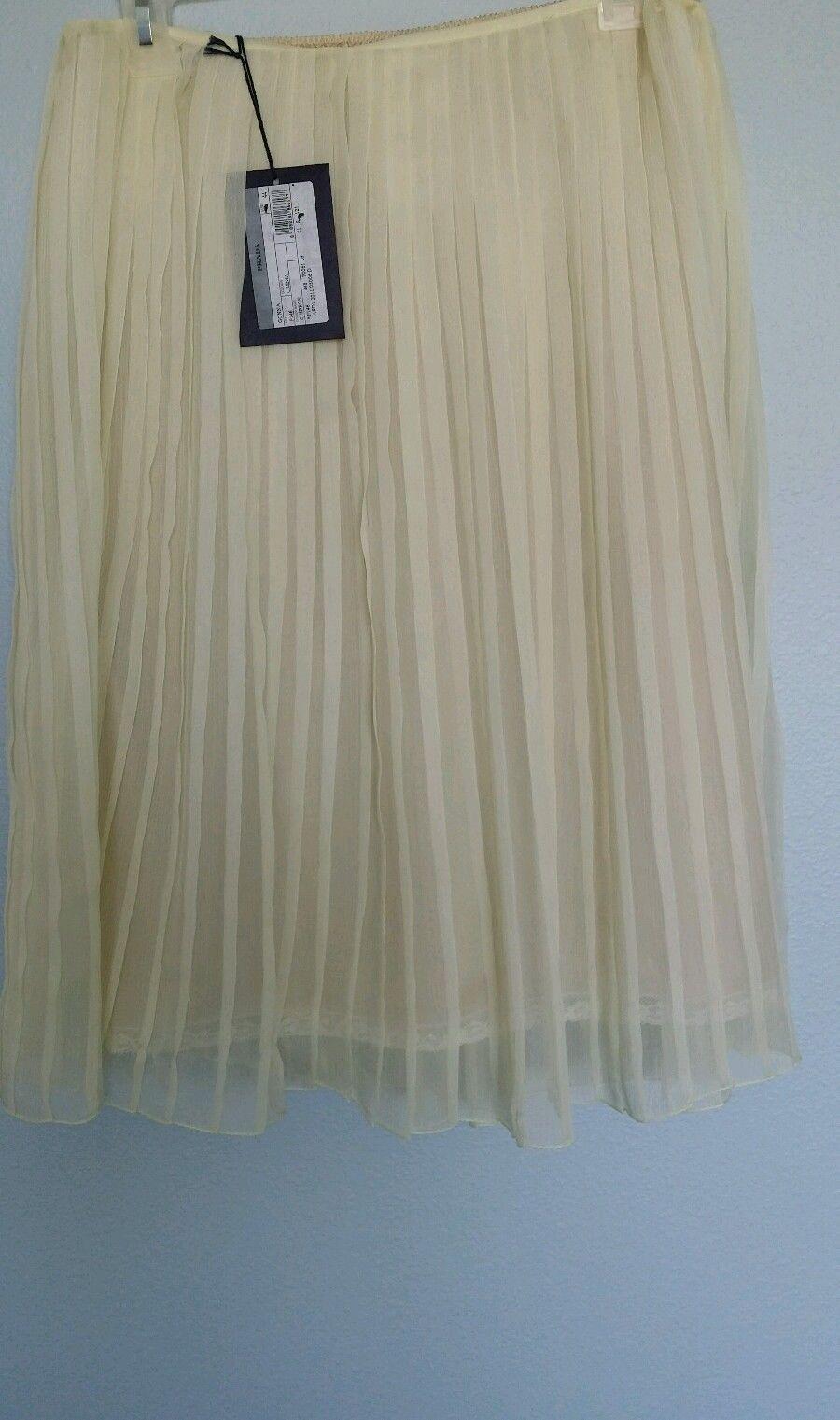 Prada Pleated Crema Chiffon Skirt Size 8   eBay