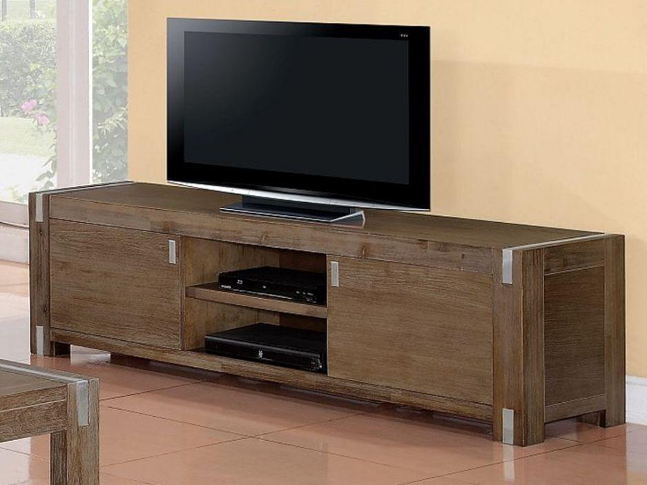 Meuble TV FLORILEGE - 2 portes 2 niches - Bois et métal - Merisier