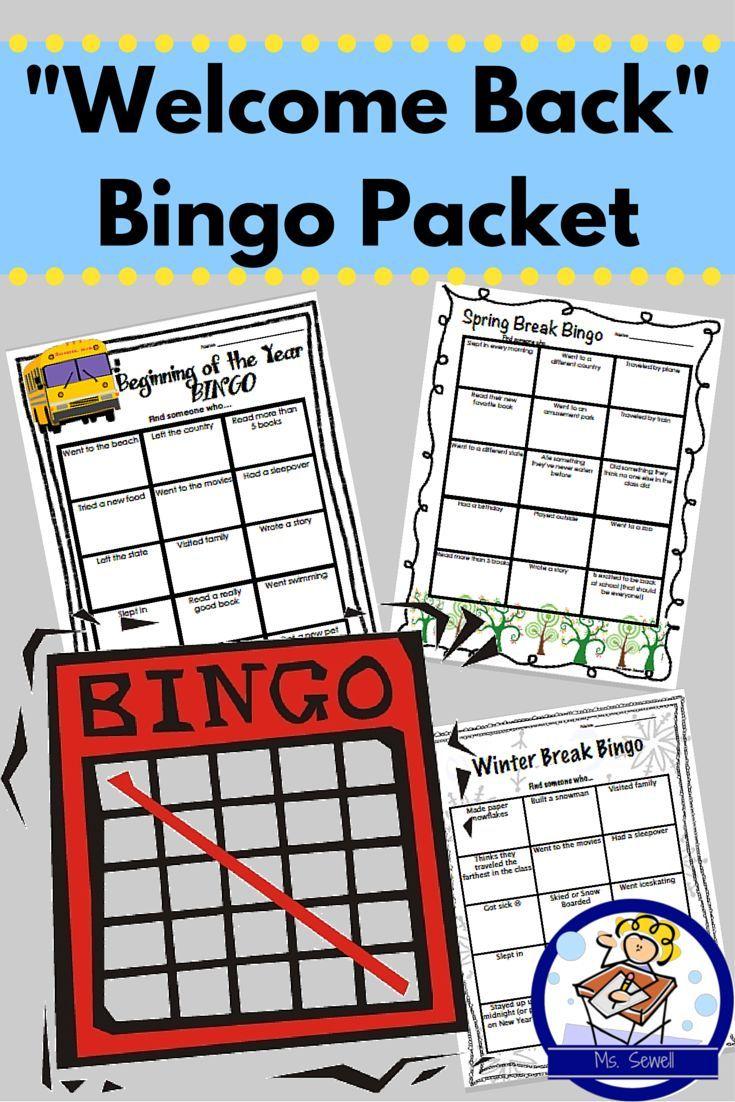 Wel E Back Bingo Packet Back To School Winter Spring Break