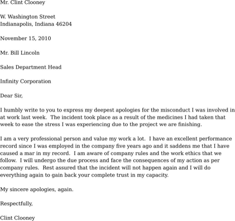 Apology Letter for Misconduct TemplatesForms Pinterest – Samples of Apology Letters