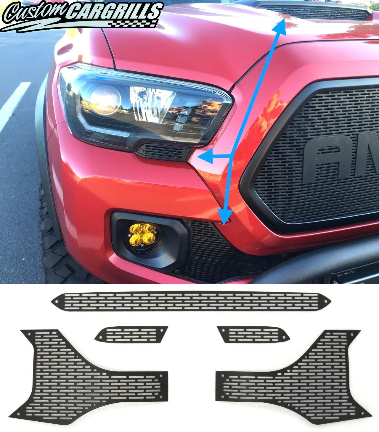 Bumper Grille For 2016-2017 Toyota Tacoma Textured Black Plastic