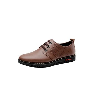 Leather Mens Flat Heel Comfort Oxfords with Laceup ShoesMore Colors