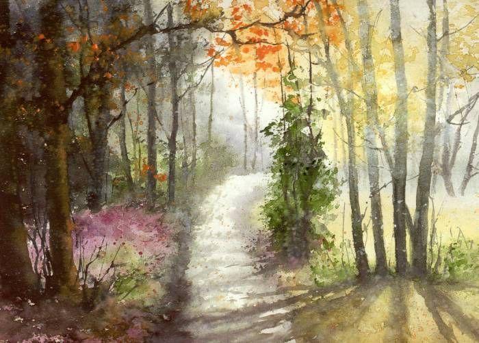 Bild Original Aquarell Landschaft Wald Nebel Und Licht 21x30 Cm