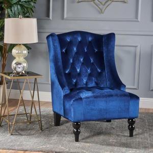 Best Noble House Toddman Navy Blue New Velvet High Back Club 400 x 300