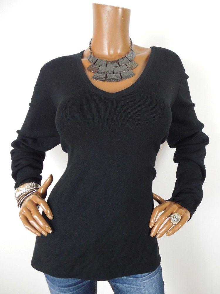 3cc823da085 CHICO'S Sz 3 Womens Top L XL NWT $55 Black SILK Sweater V Neck Shirt Long  Slvs #Chicos #Blouse #Casual