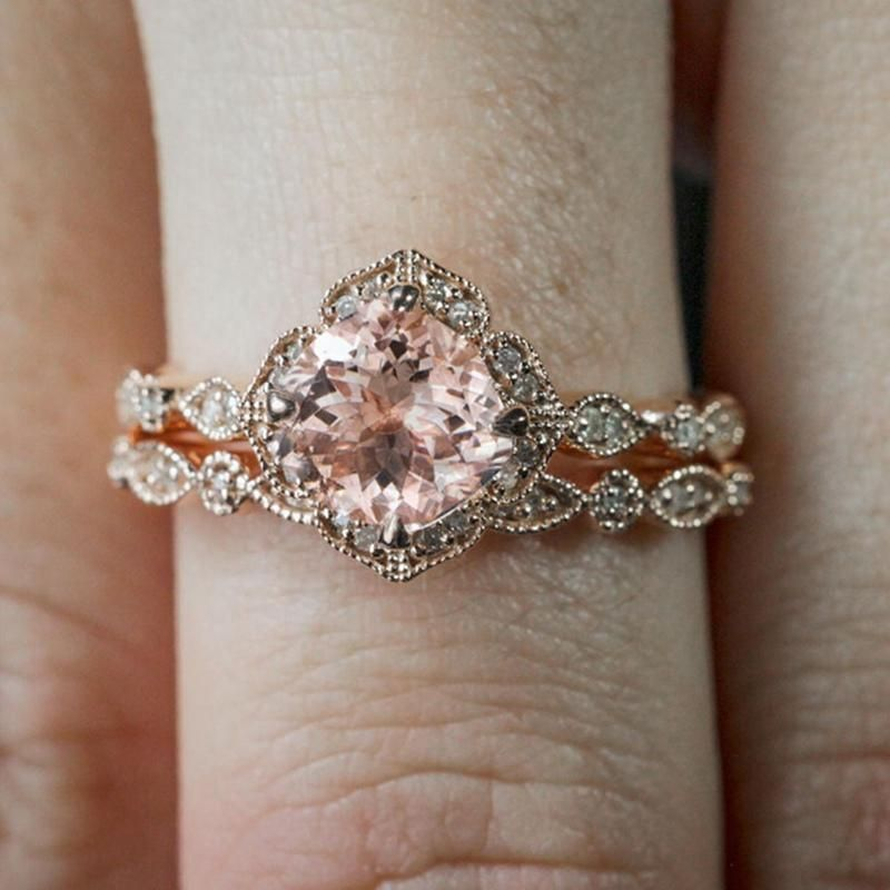 Boho Vintage Wedding Band Set Vintageweddingrings Diamond