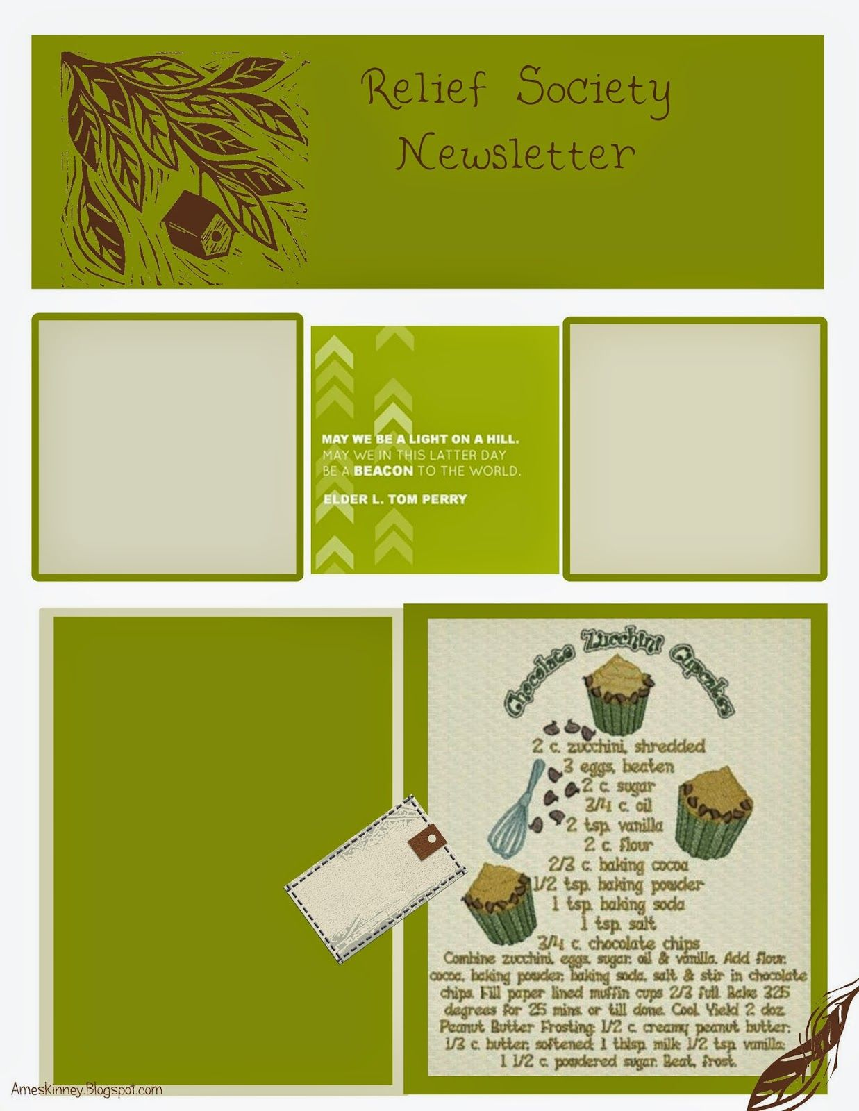 Monthly RS Newsletter Template Relief society, Relief