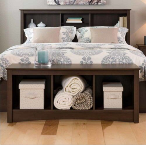 Stylish Storage Bench With Three Cubbies Bedroom Furniture Espresso ...