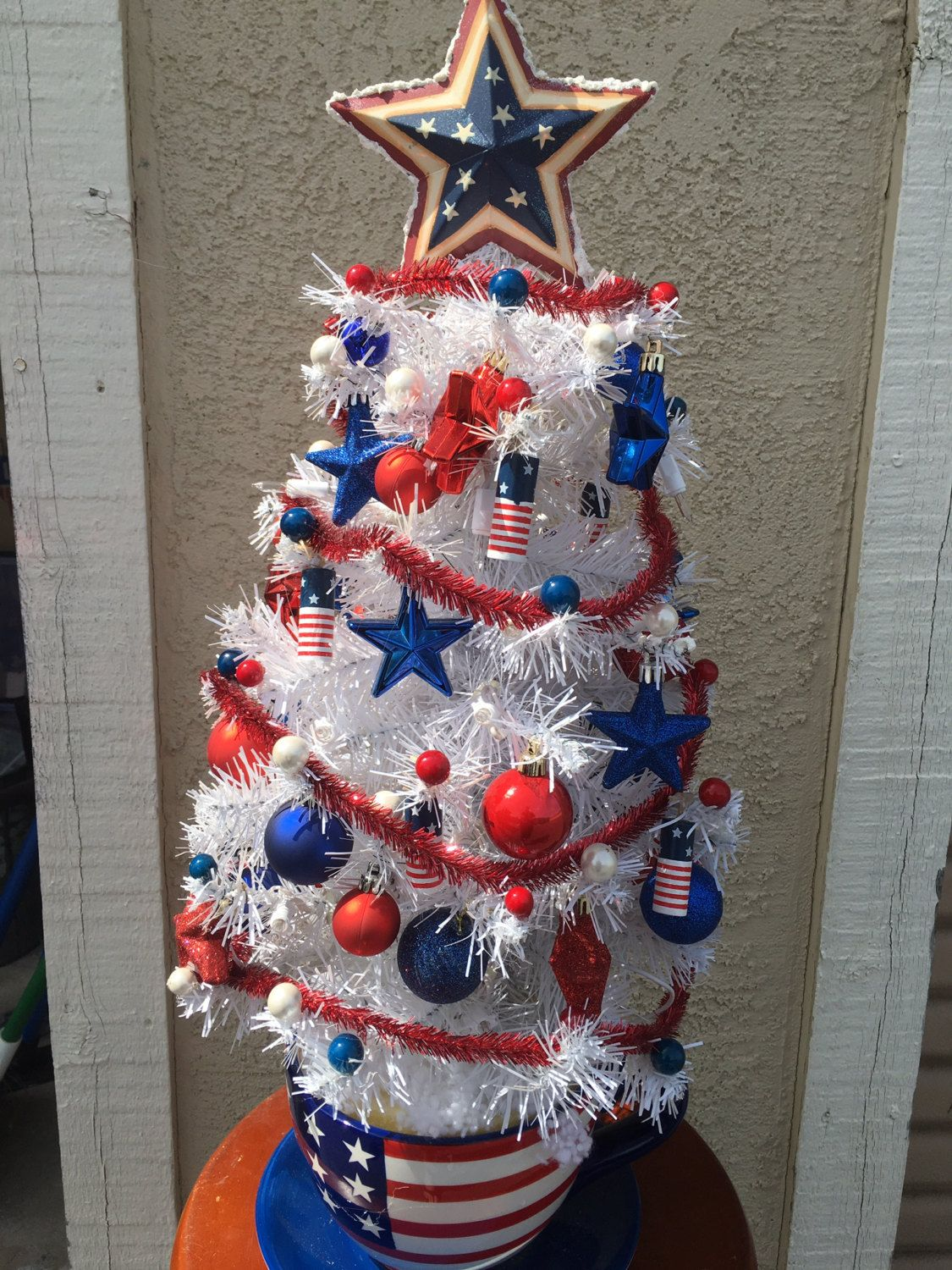 Americana Patriotic 4th Of July American Flag Themed Holiday Christmas Tree Holiday Tre Patriotic Christmas Holiday Christmas Tree Patriotic Decorations